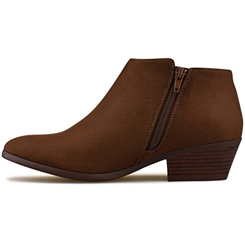 Toe Faux Ankle Cognac Stacked Suede Round Women's Heel Premier Bootie Standard Western qgwC44