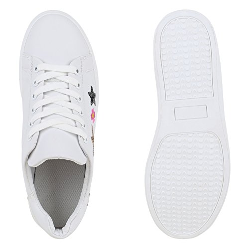 8ec85ffdcfd5fe ... Stiefelparadies Damen Sneakers Blumen Sneaker Low Stickereien Sportschuhe  Schnürer Schuhe Leder-Optik Metallic Kappe Flandell