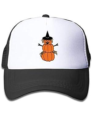 Halloween Pumpkin Scarecrow On Kids Trucker Hat, Youth Toddler Mesh Hats Baseball Cap
