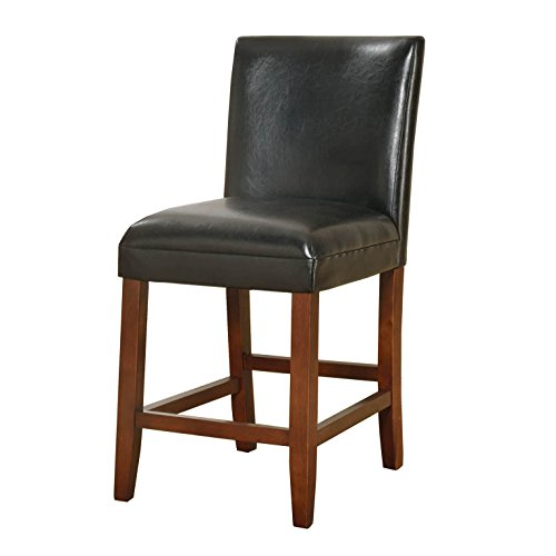 HomePop Parsons Leatherette Counter Height Chair 24-Inch, Black Leather (Leather Parsons Chair Chair)