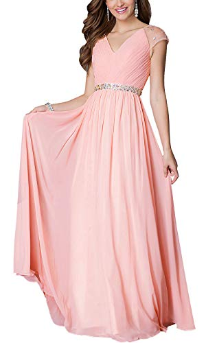 - Aofur Womens Evening Dress Ball Gown Prom Party Wedding Formal Long Chiffon Maxi Dresses Plus Size (Medium, Pink)
