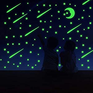 Glow in The Dark Stars and Moon and Shooting Stars,Toddler Decorations Room Decor Kit Bright Wall Stickers with Butterflies for Ceiling Decals in Kid Room,Total 215 Pcs