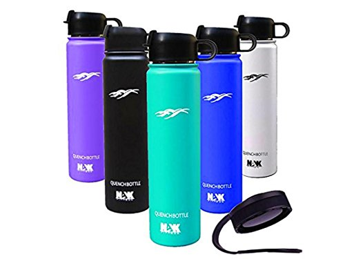 Quench Bottle Flip Top Lid 24oz. Double Wall Vacuum Insulated Water Bottle. Premium Grade Insulated Stainless Steel Water Bottle. Two Lids BPA Free