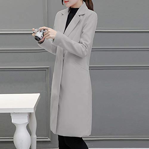 Revers Femme Long Cardigan Vestes Manteau Laine Coat Pardessus À Chaud Mode Slim Susenstone Hiver En La Gris Parka Casual 0Yqp5w8