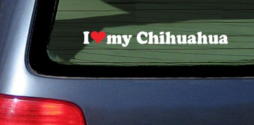 Heart Chihuahua White Vinyl Sticker product image