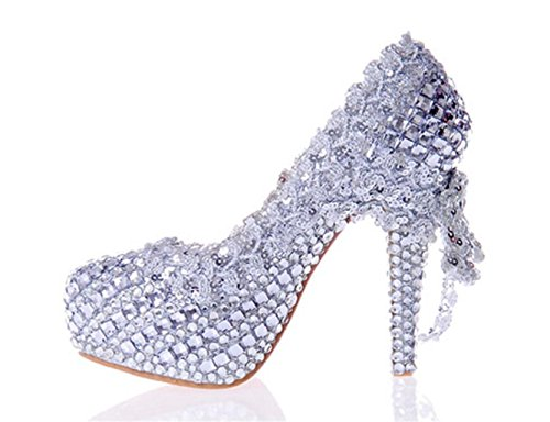 Wedding Heels Glitter Gorgeous Shoes MNII Shoes Silver Good Crystal Quality Bridal Women Party Evening Color Court High nwCqHx0FO