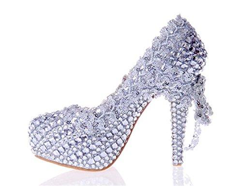 Kitzen Slebet Høje Glitter Damesko Krystal Hæle Aftenselskab Brude Sølv Smukke Farve Bryllup Yw86RnYr4