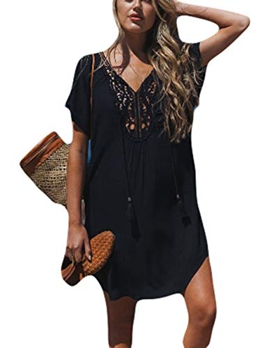 Bsubseach Sexy Lace-up V Neck Beach Tunic Dress Women Short Sleeve Neckline Hollowed Swimwear Cover Up (Up Sleeve Swim Cover Short)