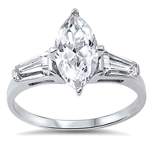 Marquise Baguette Solitaire - Sterling Silver Baguette Accent Marquise CZ Solitaire Engagement Ring 14MM (Size 5 to 10), 7