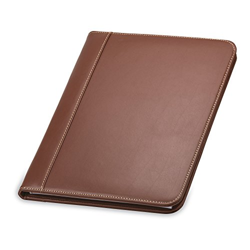 Samsill Contrast Stitch Leather Padfolio – Lightweight & Stylish Business Portfolio for Men & Women – Resume Portfolio, 8.5 x 11 Writing Pad, Tan/Brown