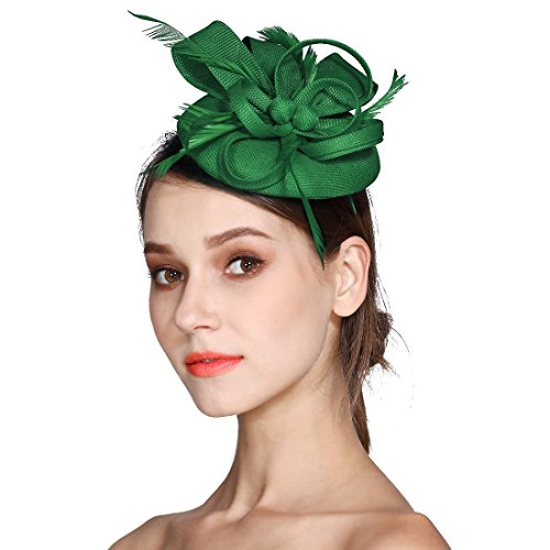 Fascinator Feather Fascinators for Women Pillbox Hat for Wedding Party Derby Royal -