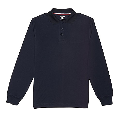 [French Toast Big Boys' Long Sleeve Sport Polo, Navy, M] (French Toast Long Sleeve Polo Shirt)