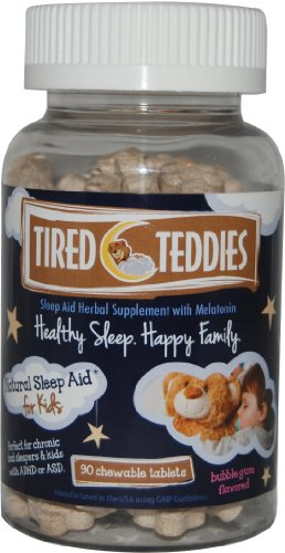 Tired Teddies Natural Sleep Aid for Kids Melatonin (0.3 mg) Herbal Supplement, 90 Chewable Tablets; Bubble Gum Flavored Low Dose Melatonin for Kids Ages ()