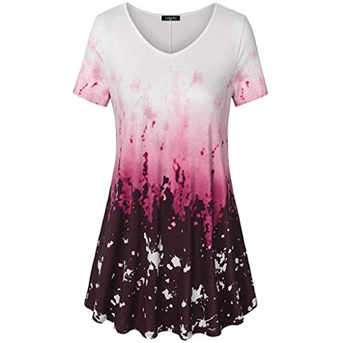 LUXISDE Womens Tops Womens Tops Short Sleeve Womens V Neck Short Sleeve A Line Curved Hem Tie Dye Business Tunic Blouse(Wine,XXL) (Pleated Deep Souffle Dish)