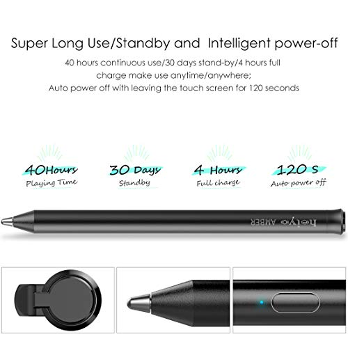 Stylus Pen Compatible with iPad Series Supporting 40-Hour Playing Time /& 30-Day Standby Capacitive Digital Styli with 3 Replaceable Rubber Tips Auto Power off Touchscreen Pencil Passed CE /& RoHs