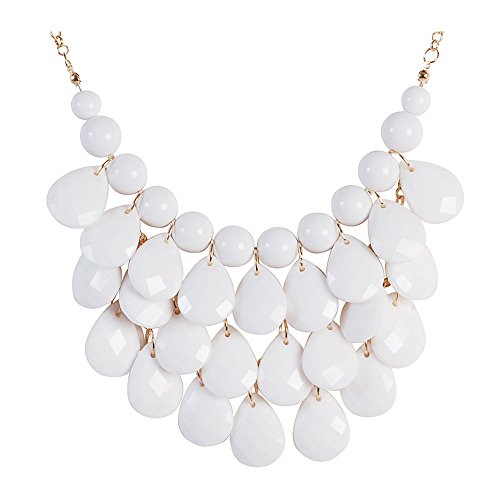Jane Stone Fashion Bubble Layered Necklace Floating Teardrop Collar Statement Jewelry for (Layered Stone)