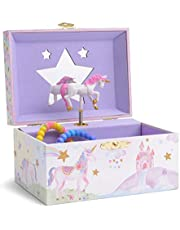Jewelkeeper Girl's Musical Jewelry Storage Box with Spinning Unicorn, Glitter Rainbow and Stars Design, The Unicorn Tune