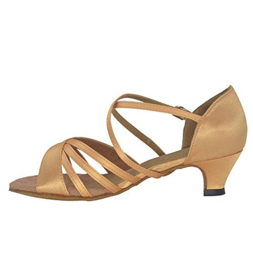 Sandalias Misu Mujer's Peep Toe Latin Salsa Tango Practice Bailarinas Ballroom Con 1.5 Heel