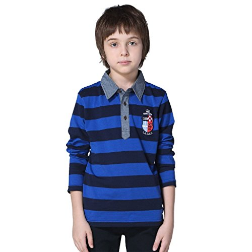 Leo&Lily Boys' Kids' Yarns Dyed Stripe Jersey Polo Shirts Chambray Collar (12, Blue) (Dyed Jersey Polo)