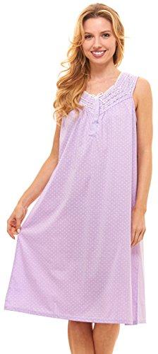 Floopi Womens Nightgown Sleepwear Cotton Pajamas - Womans Sleeveless Sleep Dress Nightshirt (L, Purple-00118)