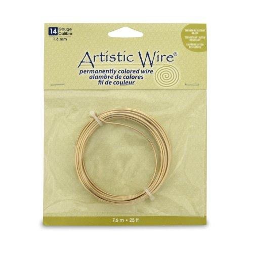 Artistic Wire 14 Gauge Wire, Tarn Resist Brass, 25-Feet ()