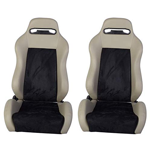 Racing Seats Fits Most Vehicles | JDM Style Grey PVC Leather Gaming Chair Playseats Pair | by IKON MOTORSPORTS