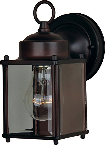 - Maxim 6879CLOI Side Door 1-Light Outdoor Wall Mount, Oil Rubbed Bronze Finish, Clear Glass, MB Incandescent Incandescent Bulb , 100W Max., Damp Safety Rating, 2700K Color Temp, Standard Dimmable, Glass Shade Material, 4600 Rated Lumens