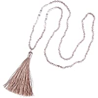 KELITCH Long Tassel Necklace Handmade Shell Pearl Crystal Beads Necklace for Women