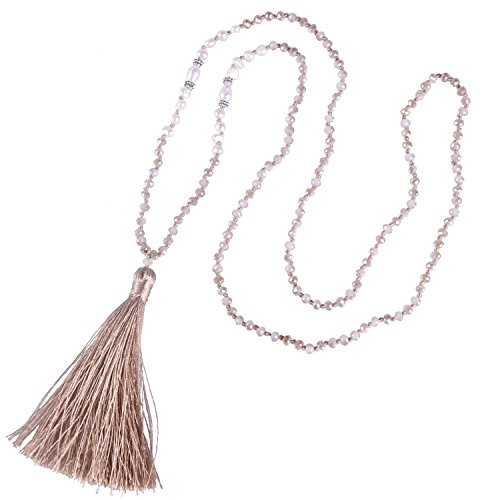 KELITCH Long Tassel Necklace Handmade Shell Pearl Crystal Beads Necklace for Women, Champagne