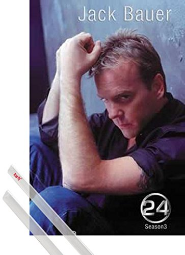 Click for larger image of 1art1 Poster + Hanger: 24 Poster (39x28 inches) Season 3 Jack Bauer and 1 Set of Transparent Poster Hangers