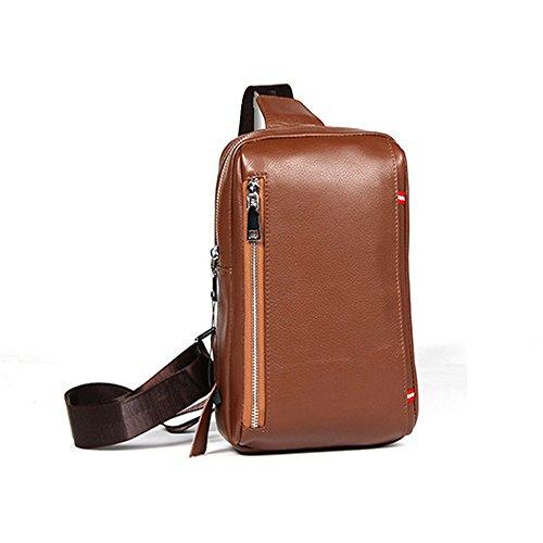 Schoudertas Heren Rugzak Tassen Vrije Bruin Top Vintage Voor Mannen Opknoping Handtassen Zakelijke Tijd Schouder Borst Casual Lederen 0UqXwAw4W