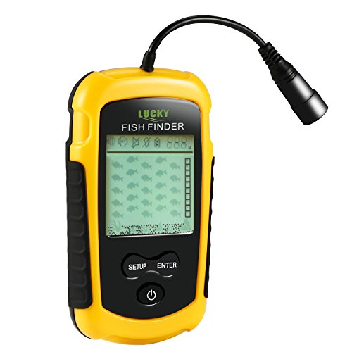 OUTAD Sonar Fish Finder Portable, Smart Hand Fishfinder / Depth Finders / Tackle Fishes / Fish Pusher Finder Detector with Wired Sonar Sensor Transducer and Backlight Display