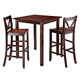 Luxury Home Parkland 3-Pc High Table with 2 Bar V-Back Stools