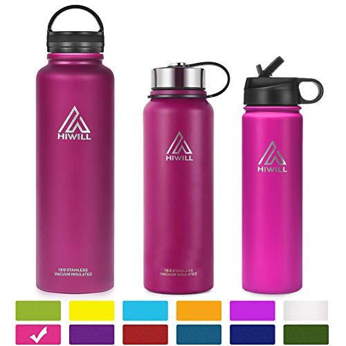 - Hiwill Stainless Steel Insulated Water Bottle 2 Lids, Cold 24 Hours Hot 12 Hours, Double Wall Vacuum Thermos Flask, Travel Sports Leak Proof Metal Bottle with Straw, BPA Free (Flamingo, 21 oz)