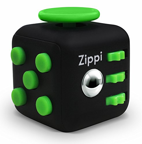 Best Fidget Cube By Zippi. Prime Desk Toy. Reduce Anxiety And Stress Relief For Autism, ADD, ADHD & OCD. (Black Green)