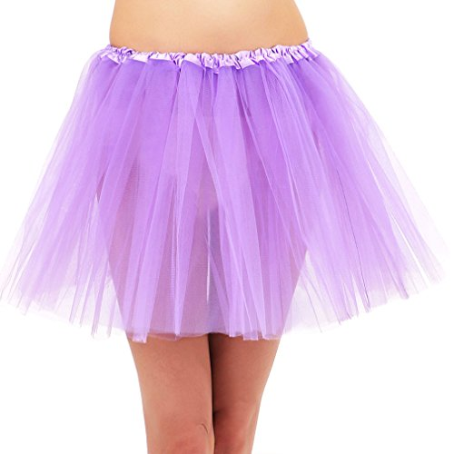 Women' Classic Elastic Adult Tutu Skirt Great Princess Tutu, Tulle, Lavender - Toddler Marathon Runner Costume
