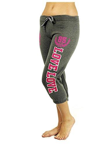 G2 Chic Women's Cropped Capri Drawstring Fleece Sweatpants(ACT-PNT,DGY-XL)