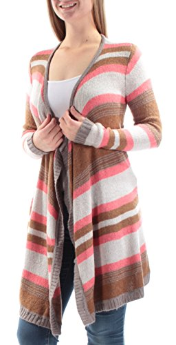 Maison Jules Women's Asymmetrical Long Length Striped Cardigan (Medium, Rich Caramel Combo)
