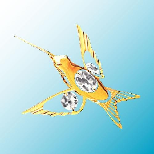 24k Gold Plated Curved Beak Hummingbird - Sun Catcher or Magnet - Clear Swarovski Crystal