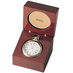 Bulova B2662 Ashton Pocket Watch Gold-Tone Finish/Mahogany Stain Box