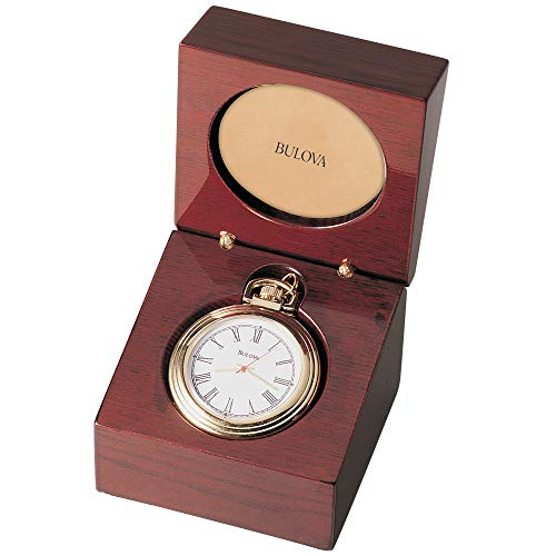 Bulova B2662 Ashton Pocket Watch Gold-Tone Finish/Mahogany Stain Box