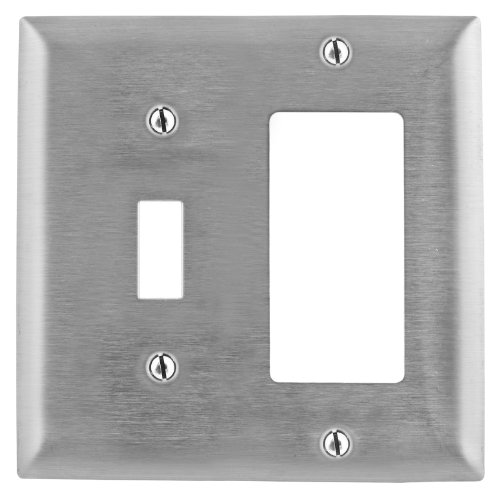 Bryant Electric SS126L Metallic Wallplate, 2-Gang, 1 Toggle Opening 1 Decorator/GFCI Opening, 430, StainlessSteel, With Removable White Protective Film