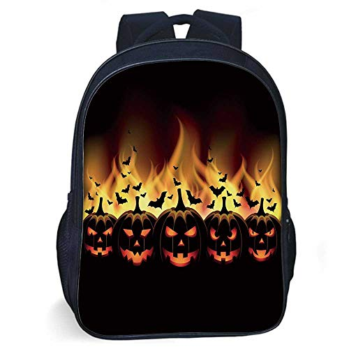 Vintage Halloween Stylish Backpack,Happy Halloween Image with Jack o Lanterns on Fire with Bats Holiday Decorative for Daily Use,11.8