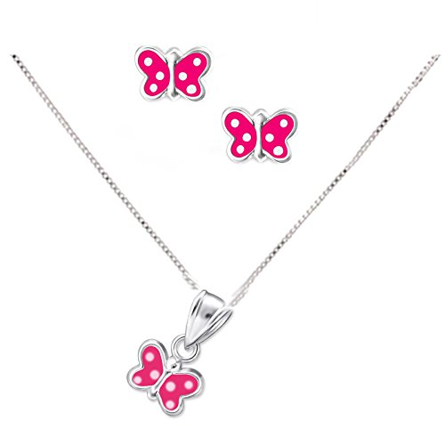 SL de Silver Set Cadena infantil pendientes colgante rosa mariposa 925plata en caja de regalo