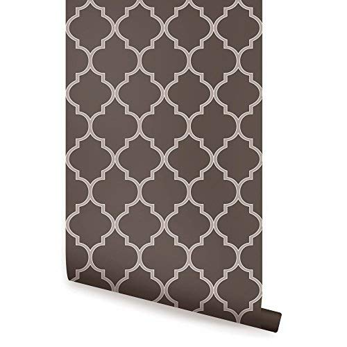 Moroccan Wallpaper - Chocolate Brown - 2 ft x 9 ft - 6pk - by Simple Shapes ()