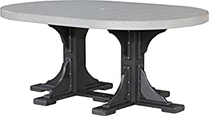 Outdoor Polywood 4' x 6' Oval Table - TABLE ONLY - DOVE GRAY/BLACK Color