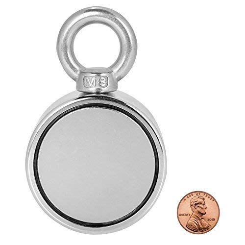 Double Sided Round Neodymium Magnet Fishing with Eyebolt, Vertical Tension 500LBS, 2.36'' Diameter (60MM)