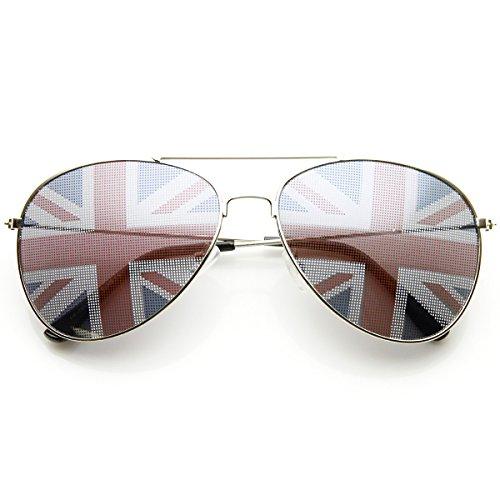 zeroUV - Classic Metal Aviator Great Britain UK British Flag Novelty Sunglasses (Silver Britain) (British Flag Sunglasses compare prices)
