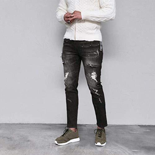 Vintage Denim Mode Casual Marca Bolawoo Di Pantaloni Street Da Moto Slim Jeans Hiphop Distrutti Uomo Fashion Nero tqRwpZ