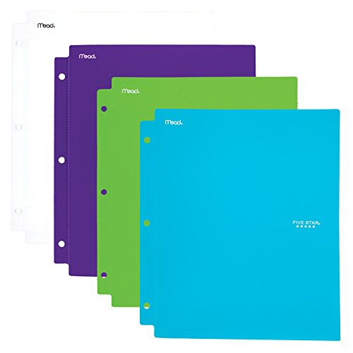 (Five Star 2 Pocket Folders with Prong Fasteners, Folders with Pockets, Plastic, Teal, White, Purple, Lime, 4 Pack (38126))